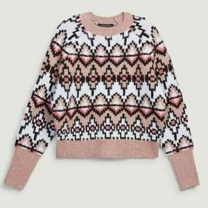 Ann Taylor Pink Wool Fair Isle Jacquard Sweater M